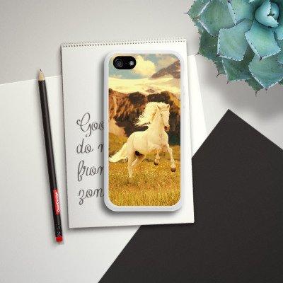 Apple iPhone 5 Housse Outdoor Étui militaire Coque Cheval blanc Étalon Jument mustang Housse en silicone blanc