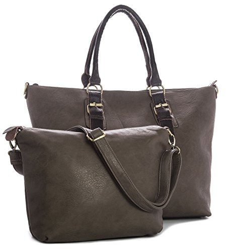 Big Handbag Shop, Borsa tote donna (Deep Taupe)