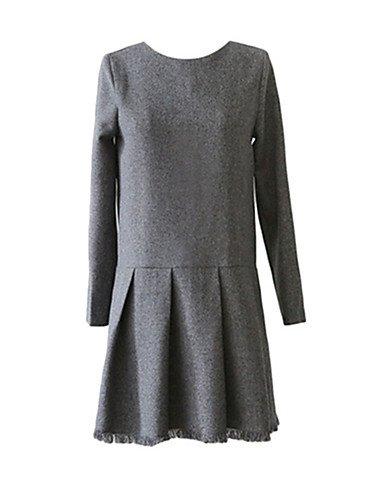 PU&PU Robe Aux femmes Trapèze Simple / Street Chic,Couleur Pleine Col Arrondi Au dessus du genou Polyester GRAY-M