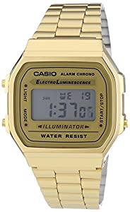 Casio Unisex Armbanduhr Collection Digital Quarz Gold Edelstahl A168Wg-9Ef