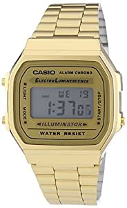 Casio Unisex Armbanduhr Collection Digital Quarz Gold Edelstahl A168Wg-9Ef: Casio