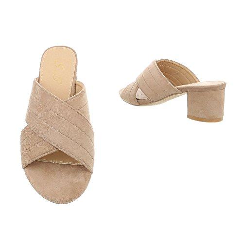 Ital-design Chaussures Femme Sandales Talon Chaton Beige Tongs