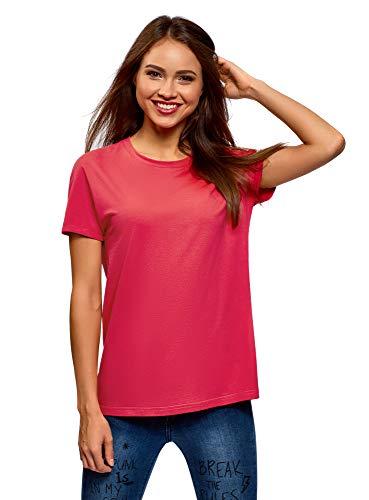 oodji Collection Mujer Camiseta Básica de Algodón, Rosa, ES 38 / S