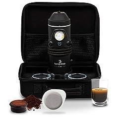 Idea Regalo - Handpresso 48266 Set Macchina da caffè Auto Hybrid 12 V con 2 Tazze e Tovagliolo, Nero (Black)