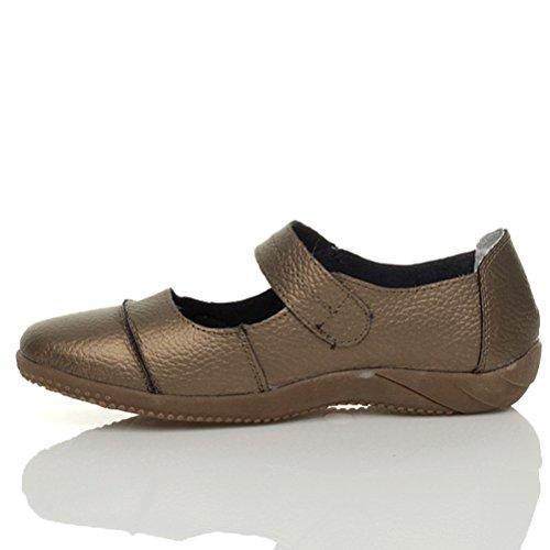 Sandales marches femmes confortables décontractées larges cuir velcro taille Bronze métallisé