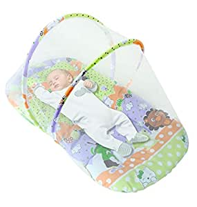 Sunbaby New Born Baby Bedding Set with Foldable Reversible Mattress, Mosquito Net and Pillow,Age 0-12 Months (Green)
