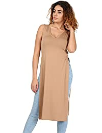 Oops Outlet Womens Ladies V Neck Double Side Slit Cut Out Tunic Waist High Split Midi Dress Top Plus Size UK 8-22