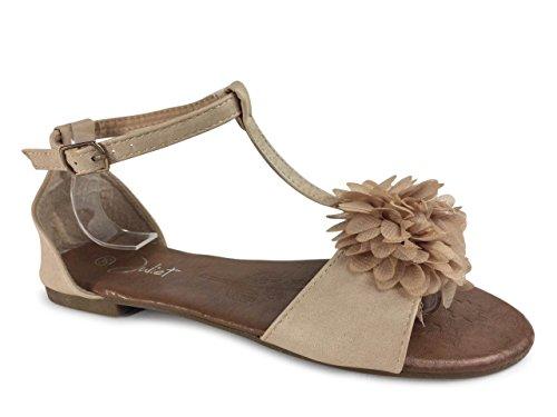 Damen Sandalen Sandaletten Blume Zehentrenner JU9 Beige