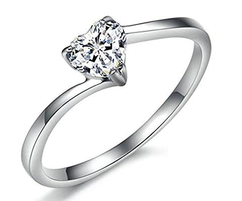amdxd Jewelry Damen-Verlobungsring Edelstahl Ringe Silber Herz Form glänzend cz Größe J 1/2