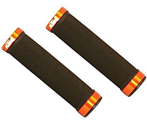 BISOMO® KTM Set: 1 Paar MTB - Fahrrad Lenker Griffe Schwarz/Orange - halber Flansch