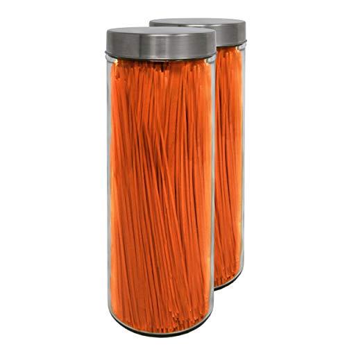 Pack 2 barattoli di vetro, 1,75 l. (30,5x10 cm), con tappo a vite in acciaio inox.