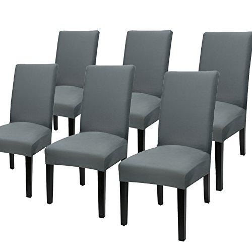Yisun Universell Stuhlhussen 4er/6er Packung Stuhlüberzug Stretch Stuhlbezug (D, 6er Set) (Stuhlhussen-set)