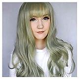 """Parrucca piatta Bangs Capelli ricci lunghi per le donne 65cm / 25.6""""Parrucche sintetiche di alta qualità dei capelli Parrucche Cosplay, Parrucche di Halloween, Parrucche di Carnevale, Parrucche del p"""