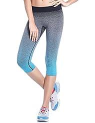 Yoga Pantalones,Xinantime Mujeres que Corren Plancha Cintura Alta Elásticos (L, Azul)