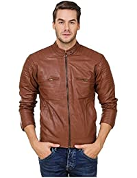 Leather Retail Brown Faux LeatherBiker Jacket for Man