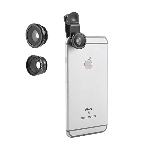 KOBWA 3 in 1 Fisheye Kameraobjektiv, Fisheye iPhone Kameraobjektiv 0.67X Weitwinkelobjektive 20X Makroobjektive 180 ° Fisheye, iPhone Kameraobjektiv für iPhone Smartphones