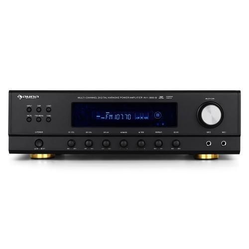 Auna 10005227 AMP-3800B 5.1 Surround Verstärker (600 Watt, 2x Mikrofon, UKW-Radio) schwarz