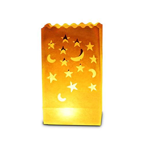 30 x sac de bougie lumière de thé en papier ignifuge décoration - motif lune et étoiles …