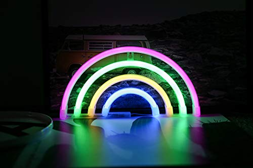 ACHICOO 3V LED Liebe/Regenbogen Form Dekoratives Neon Nachtlicht zur Dekoration Rainbow Battery Type Hanging neon -