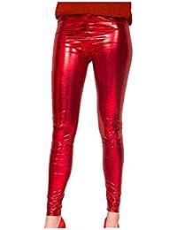Leggings color rojo metalizado talla L/XL fastnacht de carnaval
