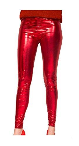 Rote Leggings Kostüm - Folat 61720 -Legging Metallic Rot, S-M,