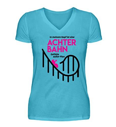 Shirtee Achterbahn - Gefühle außer Plan - Helene - V-Neck Damenshirt -M-Karibik Blau