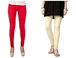 Roop Trading Co girls cotton material, churidar full length legging style,cream-red colour size available- XL,XXL,XXL