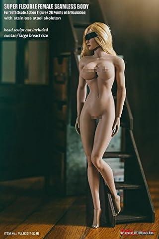 OBEST TBLeague Gliederpuppe Weibliche Körper Figur Weiblich 1/6 12 Zoll liederpuppe Weizen farbe Große Brust Super Flexible Weiblich nahtlos Body (No-Head Sculpt) (S21B)
