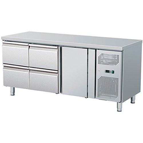 Zorro - Kühltisch mit Füßen ZGN 3140 - 2 Türen - 2 Schubladen - Gastro Zubereitungstisch mit Arbeitsfläche - R600A - Digitales Thermostat - Umluftkühlung