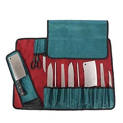 HANSHI Heavy Duty Utility 17 Slots Chef Knife Roll Bag Portable Knife Bag Case Storage Tote With Shoulder Strap