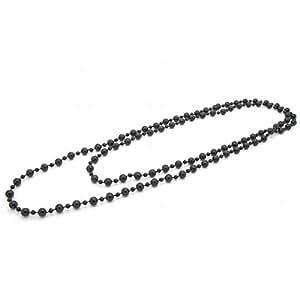 1 Collier de Perles Chaîne Sautoir multiple longue Femme Retro Vintage Noir 132 cm