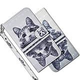 MRSTER iPhone 5C Étui à Rabat 3D Désign Portefeuille Housse [Magnétique] [Fonction Stand] [Porte Carte] PU Cuir Protection Coque pour Apple iPhone 5C. RX 3D - Mirror Cat