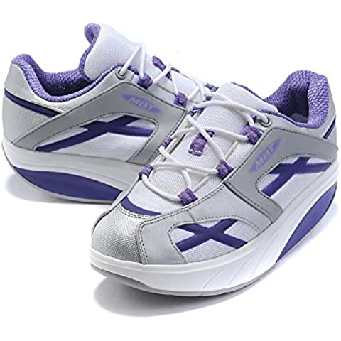 Donna M. Walk Purple Breathable Walking Shoes Strength Shape Ups