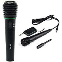 Microfono - TOOGOO(R) 2 en 1 Microfono de mano inalambrico y con alambre Sin alambres y con alambres Micro Receptor de unidireccional sistema Negro
