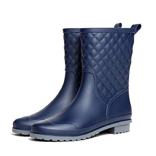 Mini Balabala Mid Calf Wellington Boots Women Rain Boots Wellies Boots Non-Slip Boots Garden Shoes Waterproof Shoes Rubber Boots for Ladies