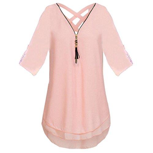 JUTOO Womens V Neck Zipper Pure Color Chiffon T-Shirts Casual Loose Tops Tunic Blouse(Z-Rosa, EU:42/CN:L)