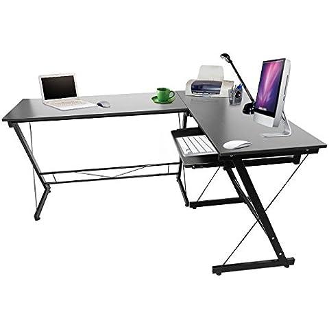 Iglobalbuy L-metal en forma de Home Office escritorio de la esquina ordenador portátil PC Estudio Tabla de estaciones de trabajo Muebles