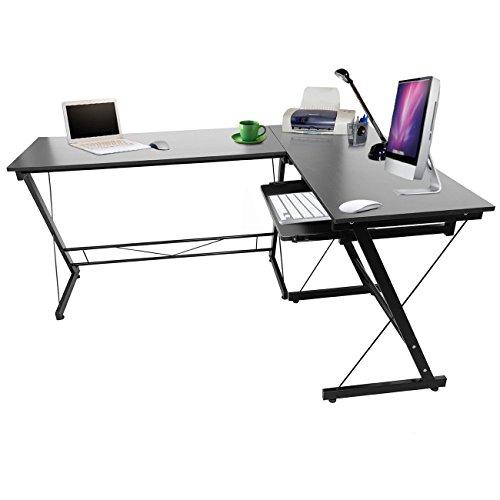 Ridgeyard L Form Schwarz Winkel Schreibtisch Eckschreibtisch Bürotisch Computertisch Tisch L Shape Corner Desk
