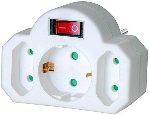 Preisvergleich Produktbild Brennenstuhl Adapterstecker Euro 2 + Schutzkontakt 1 weiß mit Schalter, 1508100 (10, 1 Schuko mit Schalter)