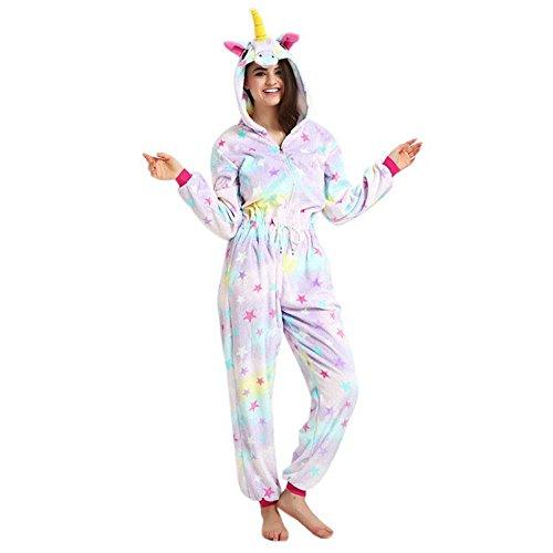 KiKa Monkey Einhorn Pyjamas New Star Zipper Drawstring weichen Flanell Cosplay Kostüme(S, Star Reißverschluss Kordelzug) (Kordelzug Star)