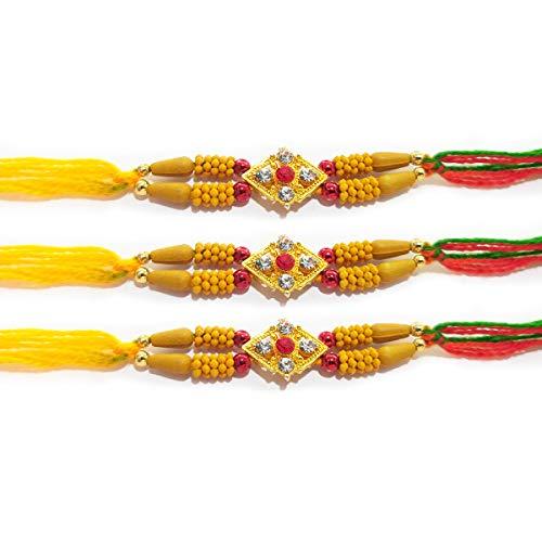 IndiaBigShop 3er Set Rakhi für Brother vergoldete Steinbetten Multicolor Thread Mauli Armband Freundschaftsbänder für festliche Pooja Raksha Bandan Bhai/Bhaiya/Bro Schwester (Thread Schwestern)