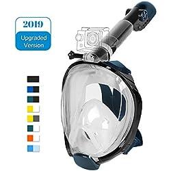 Unigear Masque de Plongée, Masque Snorkeling Plein Visage 180° Visible, Antibuée Anti-Fuite sous-Marine, 2019 Nouveau Version Snorkel Masque avec la Support pour Caméra de Sport (Noir-Vert, L/XL)