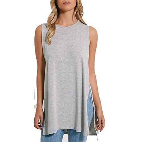 Fashion Essentials-Serbatoio vestito dalla maglia del T Shirt Womens Side Split fessura taglio Baggy altalena Sopra Grey