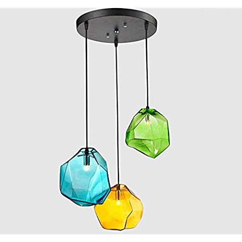 XIAOMINZI 15cm*15cm(6*6inch) 220V moderno semplice creativo colorato pietra Ice Cube personalità vetro ciondolo calata lampada Led 3 luci con regolabile cavo di alimentazione per camera da letto sala da pranzo Cafe