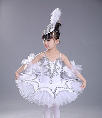 tüme Mädchen Geschirr Puff weißen Rock Kinder tanzen Praxis Kleidung , 140cm , white (Ballerina Kleidung Für Mädchen)