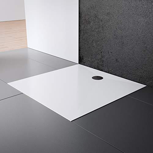 Schulte EP214028 04 Duschwanne Schulte-plan Quadrat, 120 x 120 cm, Mineralguss, alpinweiß, inkl. Füße und Ablauf, für bodengleiche Montage