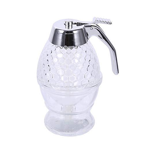 Honigspender 200ML Sirup Dispenser Acryl Honig Spender Honig Jar Container Tasse Tragbar Saft Bee Vorratstopf Drip Flasche Kochen Aufbewahrung Topf Mit Aufbewahrungsständer 8-Unzen Kapazität - 8 Unzen Sirup