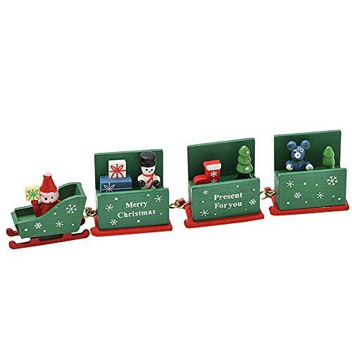 (Weihnachts Ornamente,Transwen Weihnachtsschmuck Weihnachten Woods Kleine Zug Kinder Kindergarten Festlich Weihnachtsdekoration für Weihnachtsbaum (Grün))