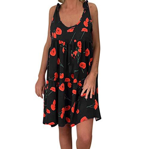 Damen Sling Kleid Damen Strandkleid Lose Blumen Print Ärmellos Bandage Mini Kleid A-Linie Träger Plus Größe S-XXXL Sommer Tankkleid, Schwarz, Medium - Bandagen Plus