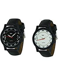 Zeit Combo of 2 Black Leather Analog Watch